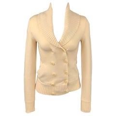 RALPH LAUREN Black Label Size XS Cream Cashmere Blend Double Breasted Cardigan