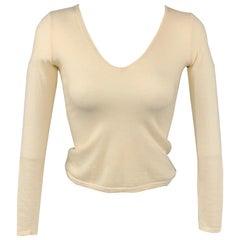 RALPH LAUREN Black Label Size XS Cream Knitted Cashmere V-neck Pullover