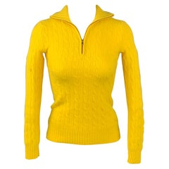 RALPH LAUREN Black Label Size XS Yellow Knitted Cashmere Sweater