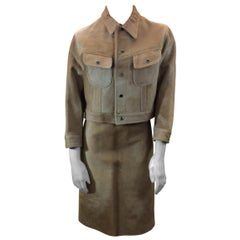 Ralph Lauren Black Label Tan Pony Hair Three Piece Skirt Suit