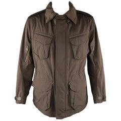 RALPH LAUREN Black Label XL Brown Solid Polyester Jacket