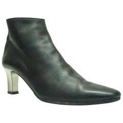 Ralph Lauren Black Leather Boots with Mirror Heels - 7