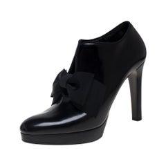 Ralph Lauren Black Leather Bow Accented Platform Booties Size 38.5
