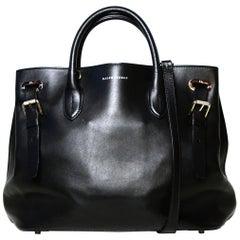 Ralph Lauren Black Leather Buckle Tote Bag W/ Strap