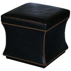Ralph Lauren Black Leather Florence Ottoman in the Style of Victorian Footstools
