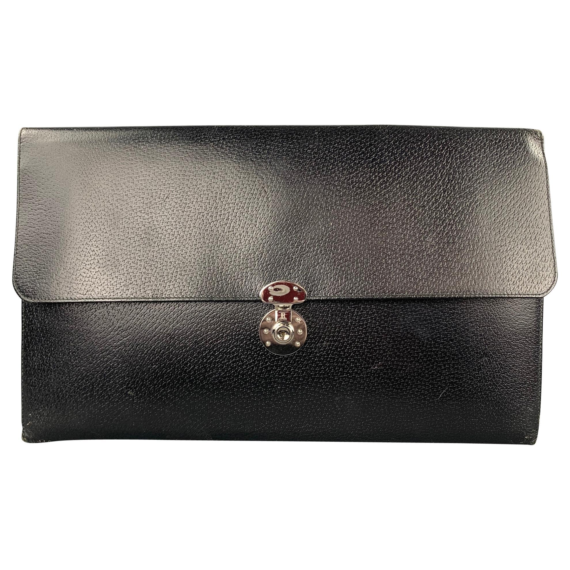 RALPH LAUREN Black Leather Pigskin Rectangle Briefcase Bag