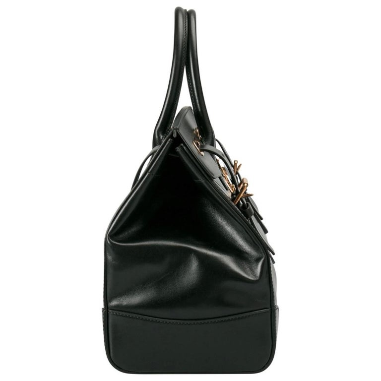 Ralph Lauren Black Leather The Ricky Bag With Light Top Handle Bag For Sale 6