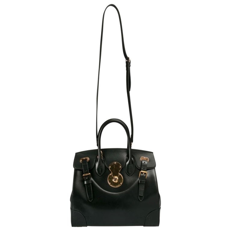 Ralph Lauren Black Leather The Ricky Bag With Light Top Handle Bag In Excellent Condition For Sale In Dubai, Al Qouz 2