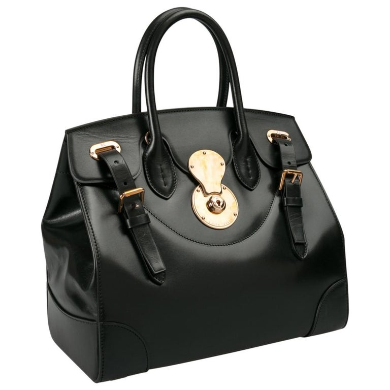 Women's Ralph Lauren Black Leather The Ricky Bag With Light Top Handle Bag For Sale