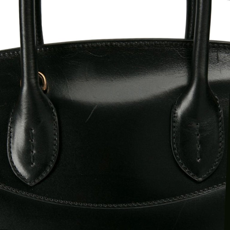 Ralph Lauren Black Leather The Ricky Bag With Light Top Handle Bag For Sale 1