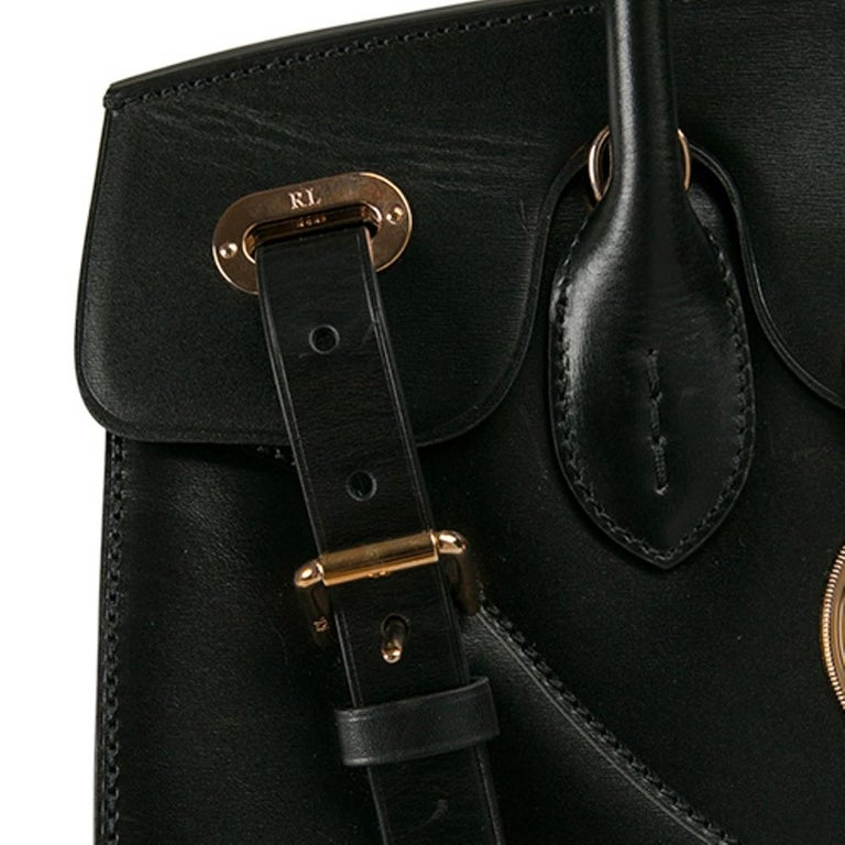 Ralph Lauren Black Leather The Ricky Bag With Light Top Handle Bag For Sale 2