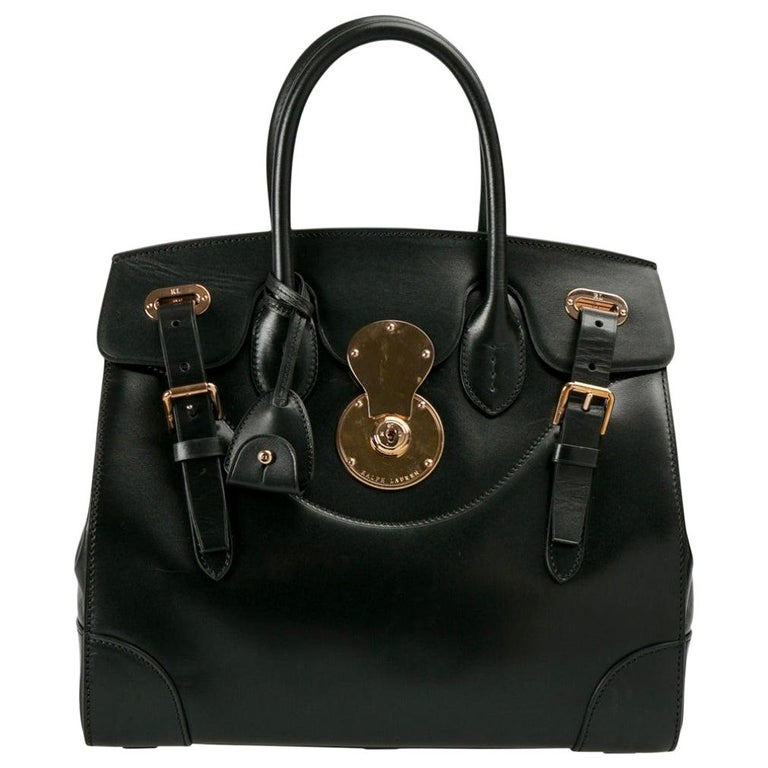Ralph Lauren Black Leather The Ricky Bag With Light Top Handle Bag For Sale