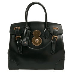 Ralph Lauren Black Leather The Ricky Bag With Light Top Handle Bag