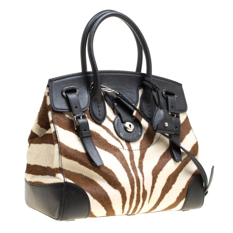 0fc625cb33 Ralph Lauren Black Zebra Print Pony Hair and Leather Ricky Tote In  Excellent Condition For Sale
