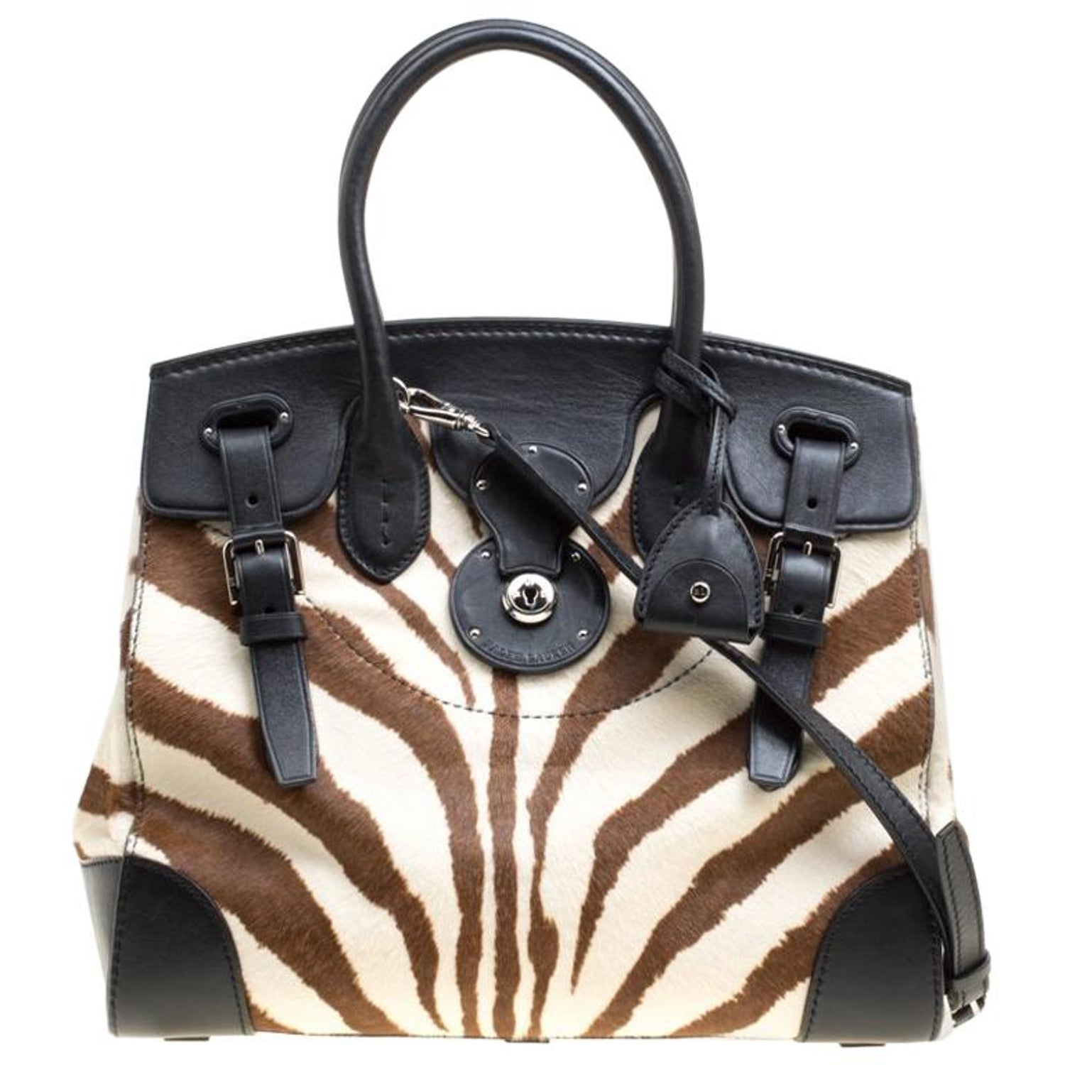 9664e51eaa Ralph Lauren Black Zebra Print Pony Hair and Leather Ricky Tote For Sale at  1stdibs