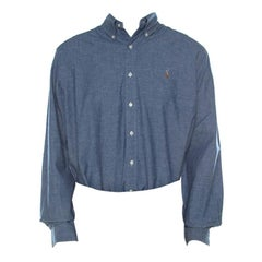 Ralph Lauren Blue Cotton Linen Blend Button Down Classic Fit Shirt XL