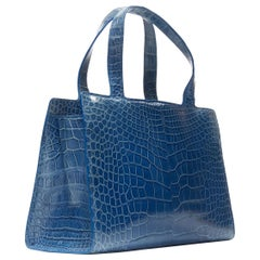 RALPH LAUREN blue crocodile leather top handle structured evening bag