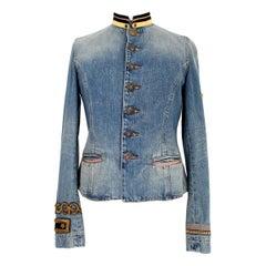 Ralph Lauren Blue Jeans Flared Denim Jacket Stand-Up Collar Golden Insert 1990s