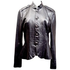 Ralph Lauren Blue Label Black Leather Military Style Jacket