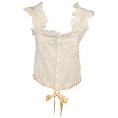 RALPH LAUREN Blue Label Size 6 White Lace Cotton Camisole Top