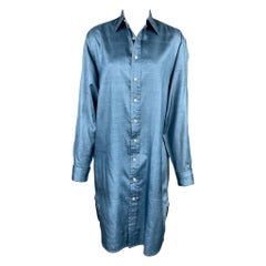 RALPH LAUREN Blue Label Size 8 Blue Silk Buttoned Shirt Dress
