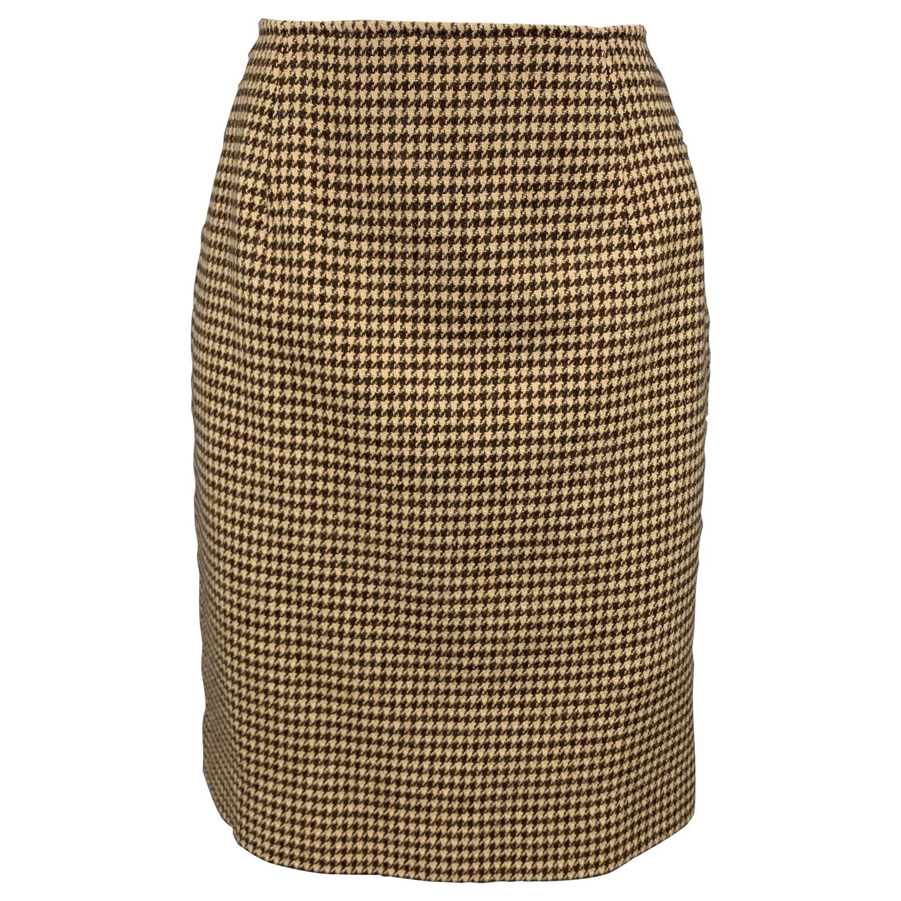 RALPH LAUREN Blue Label Size 8 Brown & Beige Houndstooth Wool Pencil Skirt
