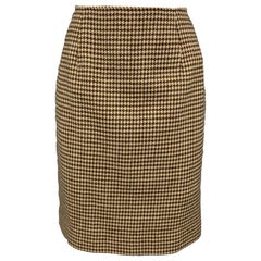 RALPH LAUREN Blue Label Size 8 Brown & Beige Houndstooth Wool Pencil Skirt