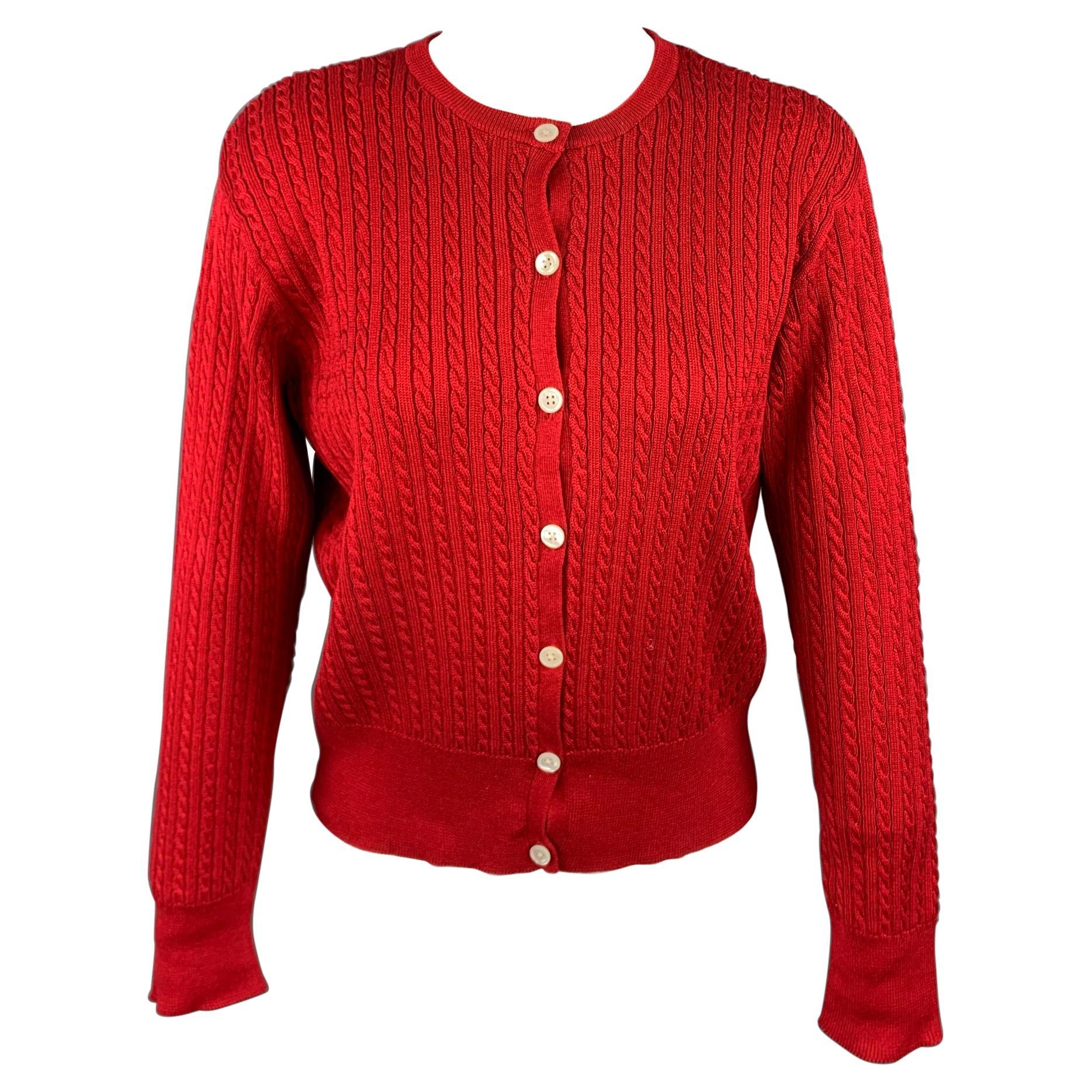 RALPH LAUREN Blue Label Size M Red Cable Knit Cotton Cardigan