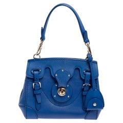 Ralph Lauren Blue Leather Soft Ricky 18 Top Handle Bag