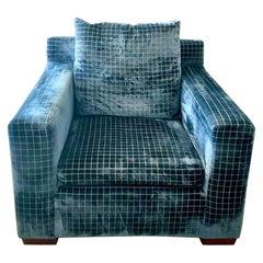 Ralph Lauren Blue Velvet Metropolitan Armchair, Kravet Couture Blue Cut Velvet
