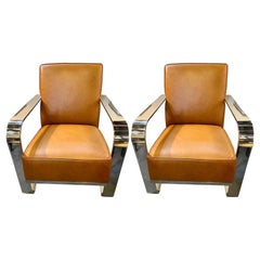 Ralph Lauren Bohemian Chairs, Chrome and Leather Rockers, a Pair