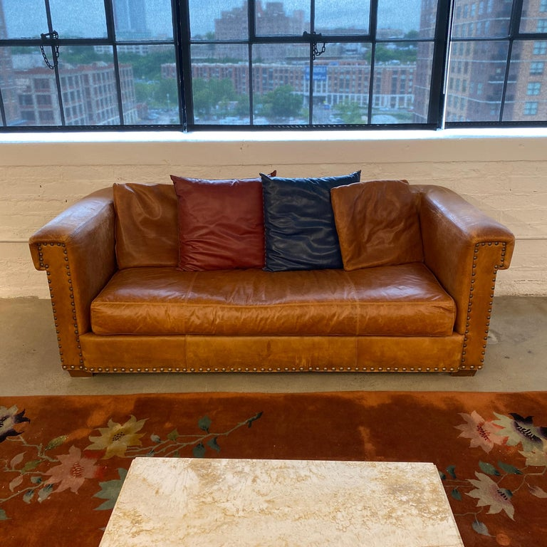 Ralph Lauren Brompton 3-Seat Vintage Brown Leather Sofa For Sale 3
