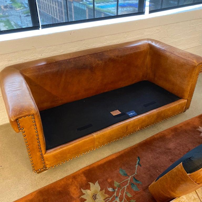 Ralph Lauren Brompton 3-Seat Vintage Brown Leather Sofa For Sale 8