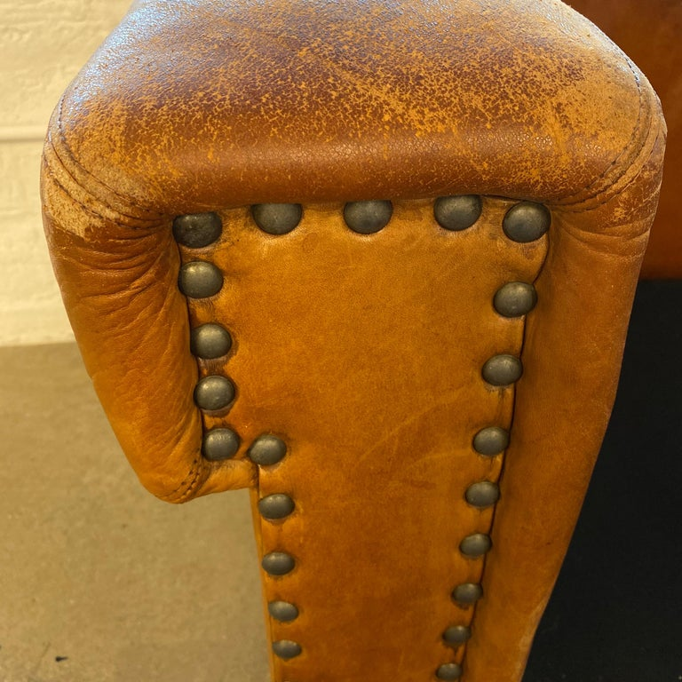 Ralph Lauren Brompton 3-Seat Vintage Brown Leather Sofa For Sale 9