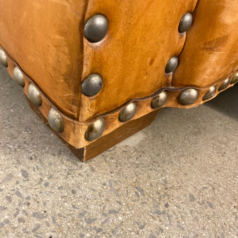Ralph Lauren Brompton 3-Seat Vintage Brown Leather Sofa For Sale 11