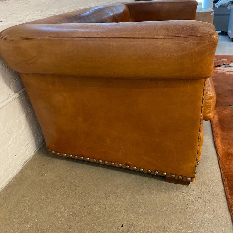 Ralph Lauren Brompton 3-Seat Vintage Brown Leather Sofa For Sale 12