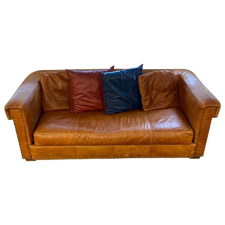 Vintage 3-seat Brompton aged brown heritage leather sofa by Ralph Lauren.