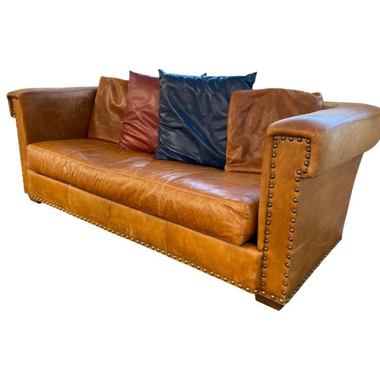 English Ralph Lauren Brompton 3-Seat Vintage Brown Leather Sofa For Sale