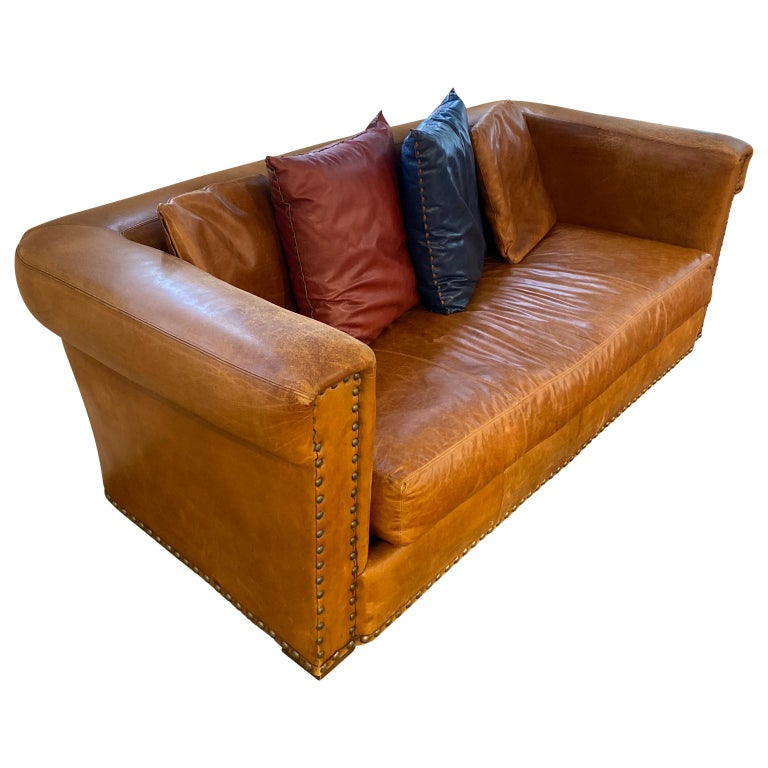 Hand-Crafted Ralph Lauren Brompton 3-Seat Vintage Brown Leather Sofa For Sale
