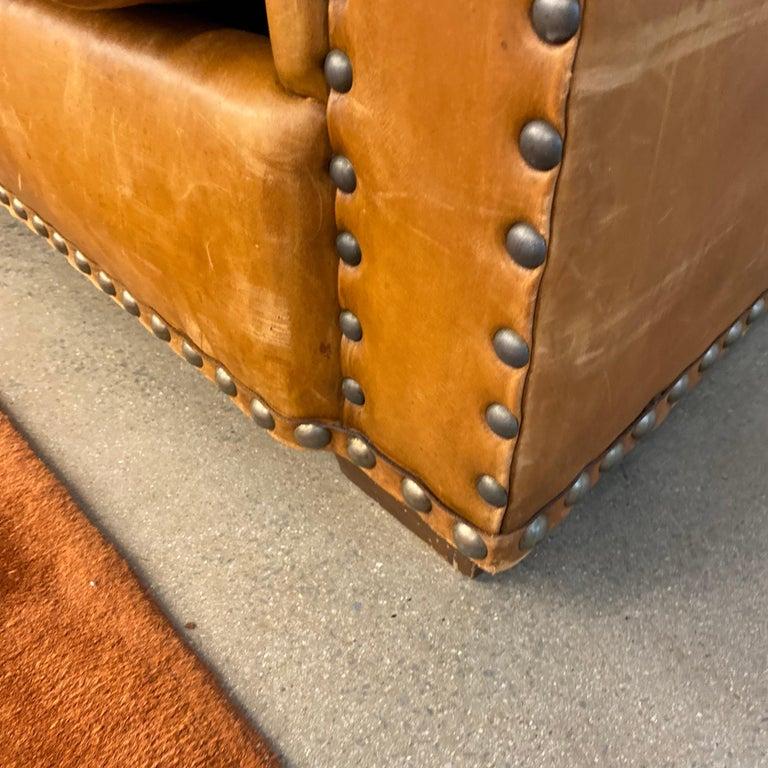 Ralph Lauren Brompton 3-Seat Vintage Brown Leather Sofa For Sale 1
