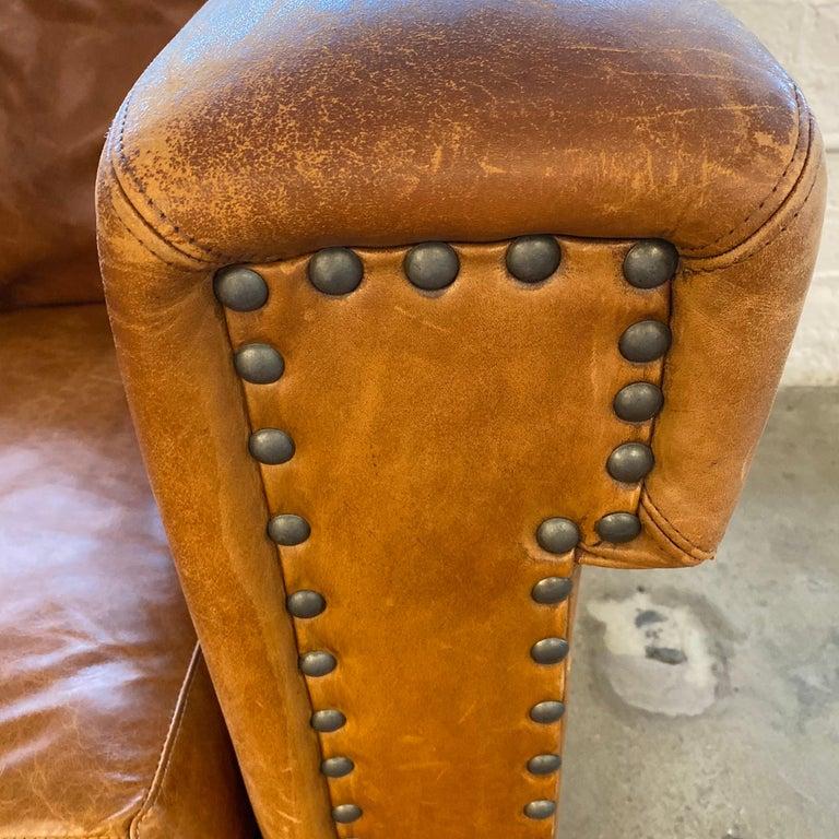 Ralph Lauren Brompton 3-Seat Vintage Brown Leather Sofa For Sale 2