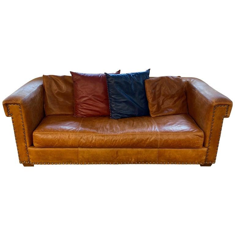 Ralph Lauren Brompton 3-Seat Vintage Brown Leather Sofa For Sale