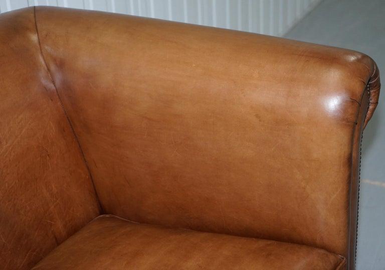 Ralph Lauren Brompton 3-Seat Vintage Brown Heritage Leather Sofa For Sale 2