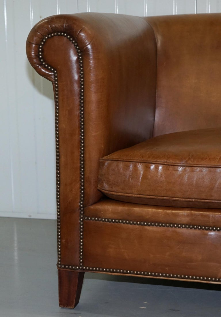 Terrific Ralph Lauren Brompton 3 Seat Vintage Brown Heritage Leather Ncnpc Chair Design For Home Ncnpcorg