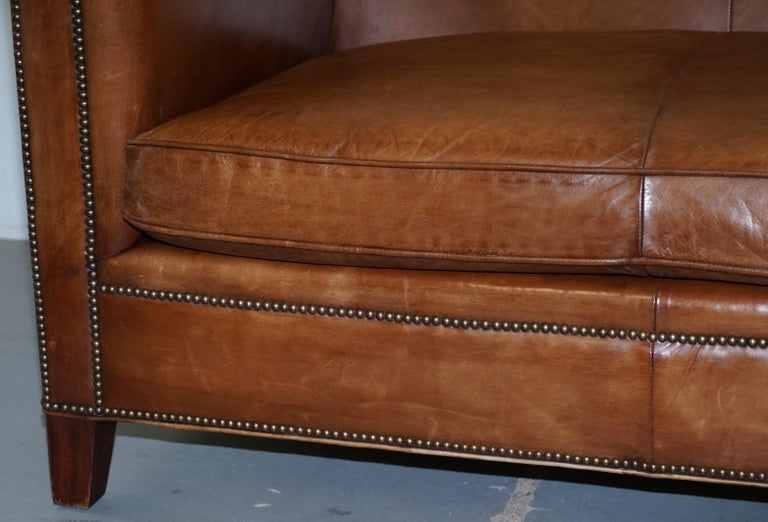 Ralph Lauren Brompton 3-Seat Vintage Brown Heritage Leather Sofa For Sale 5
