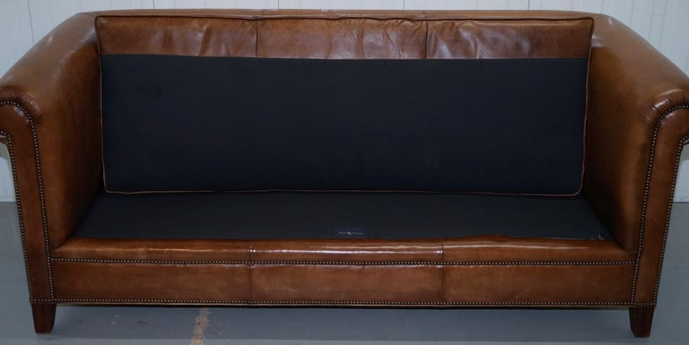 Ralph Lauren Brompton 3-Seat Vintage Brown Heritage Leather Sofa For Sale 7