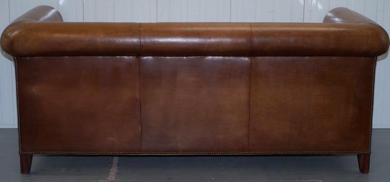 Ralph Lauren Brompton 3-Seat Vintage Brown Heritage Leather Sofa For Sale 9