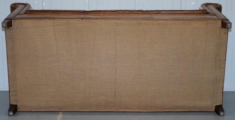 Ralph Lauren Brompton 3-Seat Vintage Brown Heritage Leather Sofa For Sale 11