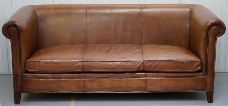Ralph Lauren Brompton 3 Seat Vintage Brown Heritage Leather