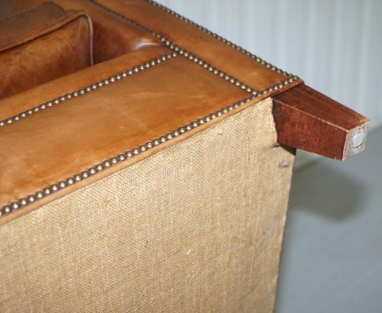 Ralph Lauren Brompton 3-Seat Vintage Brown Heritage Leather Sofa For Sale 12